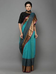 Blue Handwoven Banarasi Cotton Silk Saree