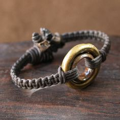 Antique African Ring Bracelet - Solid Bronze and Brass Double Ring and Woven Linen
