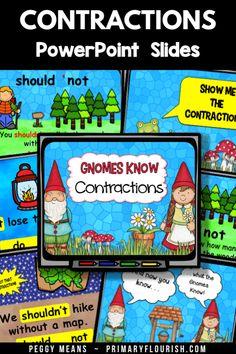 Contractions {Gnomes Know} Grammar Activities, Counting Activities, Kids Learning Activities, Learning Resources, Grammar Skills, Teaching Grammar, Teaching Second Grade, Third Grade, Teaching Numbers