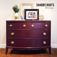 NEW! Vintage modern chic bow front Dresser chest- bold color - jewel tone red / purple color with gold hardware -San Francisco Bay area by ShabbyRootsBoutique on Etsy https://www.etsy.com/listing/495665376/new-vintage-modern-chic-bow-front