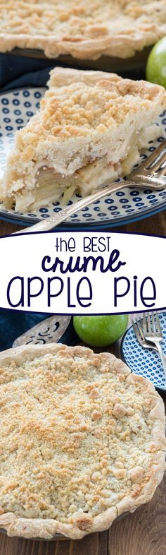 This is the BEST Crumb Apple Pie recipe you'll ever make: an all butter pie crust, soft tart apples, and a crunchy sweet crumble topping. The perfect apple pie! Apple Pie Recipes, Fall Recipes, Sweet Recipes, Baking Recipes, Just Desserts, Dessert Recipes, Apple Desserts, Fall Desserts, Dessert Ideas