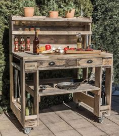 Pallet table - Pallet table - Grill table made of pallet grill Table made of Euro pallets Pallet furniture - Palette Table, Palette Deco, Buy Pallets, Wooden Pallets, Diy Pallet Furniture, Diy Pallet Projects, Pallet Ideas, Furniture Design, Pallet Chair