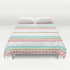 Mint Coral Gold Glitter Tiny Triangle Stripes Duvet Cover