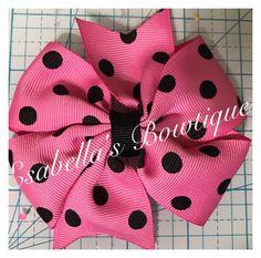 Pink black polka dot pinwheel hair bow;pinwheel bows;pink bows;hair bows by EsabellasBowtique on Etsy