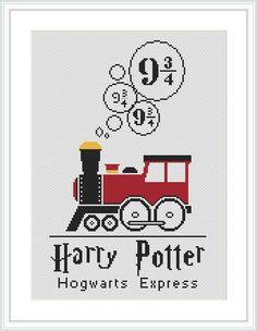 Hogwarts Express Train cross stitch pattern Harry Potter wall