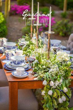 Easy instruction on how to create a natural garland table runner with evergreen leaves. The perfect centerpiece solution for a hostess who wants to wow!