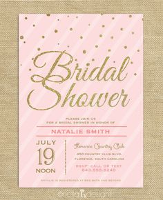 Blush Pink & Gold Glitter Bridal Shower Invitations – Nella Designs