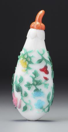 A SIX-COLOUR OVERLAY GLASS 'EGGPLANT' SNUFF BOTTLE YUZHI SEAL MARK AND PERIOD OF QIANLONG