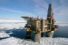 Shell Oil points out that drilling in icy waters isn't new. Pictured is Lunskoye A in sea ice, one of two platforms in the (Russian: oil and gas development project in Sakhalin Island, Russia. It was installed in Chernobyl Reactor, Oil Rig Jobs, Oilfield Trash, Top 15, Oil Platform, Sea Ice, Oil Refinery, Drilling Rig, Oil Industry