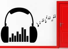 Wall Stickers Vinyl Decal Headphones Music by Wallstickers4you