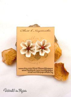 Origami flower earrings, Origami stud earrings, flower stud earrings, paper flower earrings, Valentine's flowers, Valentine earrings gift by TheWorldinpaper on Etsy