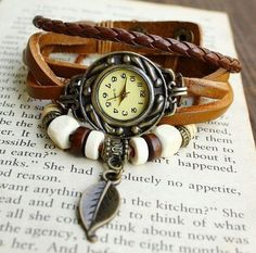 Personalized retro fashion leather braided rope bracelet watch, beaded metal pendant watches for men and women-SB3