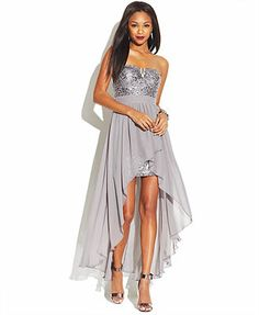 As U Wish Juniors' Sequined High-Low Ilusion Dress