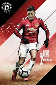 Manchester United F C - large poster - approx x - rolled - official licensed Alexis Sanchez Manchester United, Manchester United Football, London Football, Football Memes, Football Players, Messi, Neymar, Sports Graphic Design, Sport Design