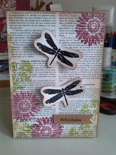 """Tarjeta libélulas para reto """"Crea tu propio papel decorado"""" de la marca www.laparejacreativa.com/blog"""