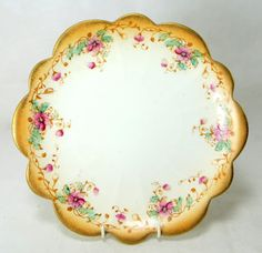 Antique Floral Cake Plate, Victorian Rococo Revival Gold Pink & Aqua Scalloped Rim Porcelain Sandwich Platter Late 1800s by keepsies on Etsy - £10.00