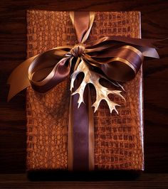 Reptile Skin Paper, Satin and Gold...leaves spray painted gold are really pretty on presents!
