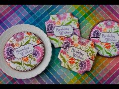 #NEW VIDEO RELEASE! Airbrushed and stenciled birthday cookies using Julia M Usher's new Prettier Plaques cookie stencil sets! Stencils available on www.stencilease.com/juliausher.htm.
