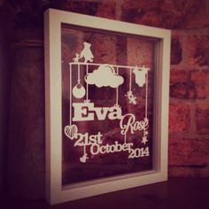 Handmade Personalised New Baby/Christening Paper Cut in a Floating Frame