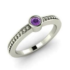 Rings - Nilah - Amethyst Ring in 14k White Gold (0.1 ct.tw.)