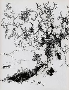 "Illustration by Robert Lawson from The Story of Ferdinand by Munro Leaf. The ""cork tree"" is amusing."