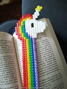Bookmark Rainbow Unicorn in Hama beads – Marina Rolin Bookmark Rainbow Unicorn in Hama beads Marque-page licorne arc-en-ciel en perles Hama multicolores Easy Perler Bead Patterns, Melty Bead Patterns, Diy Perler Beads, Perler Bead Art, Pearler Beads, Fuse Beads, Beading Patterns, Peyote Patterns, Hama Beads Kawaii
