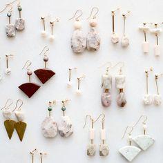 Marble, pearl and moonstone earrings