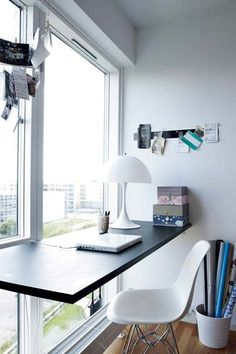 Floating desk in front of window very nice! Desk Shelves, Shelf, Ikea Workstation, Office Nook, Office Inspo, Office Spaces, Work Spaces, Office Ideas, Window Desk