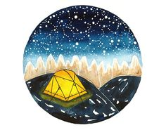 Original Watercolor painting illustration art Camping on mountains Tent Stars Nature Wall decor