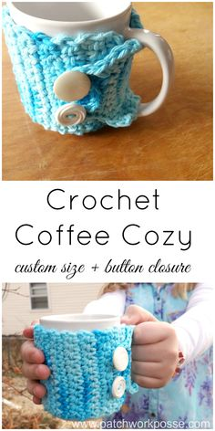 crochet coffee cozy tutorial with button closure Super easy to crochet #freepatternfriday #crochet