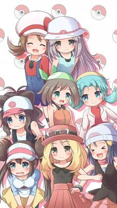 Poke girls Top To Bottom: HGSS-Lyra/Kotone FRLG-Leaf/Blue/Green BW-White/Hilda RSE-Sapphire/May GSC-Chrystal BW2-Rosa/Mei XY-Y/Serena DPPT-Platinum/Dawn