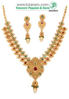 22K Gold 'Mango' Necklace & Drop Earrings Set with Uncut Diamonds - DS361 - Indian Jewelry from Totaram Jewelers