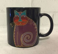 Laurel-Burch-Mythical-Cat-Mug-Purple-Gold-Cat-Lovers-Cup-Crazy-Cat-Lady-Gift