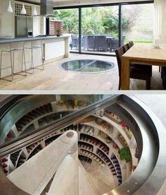 Under-floor wine cellar/Pantry/cool room. Cold air stays in the cellar, even with door open (instead of pouring out all the cold air like your stand-up fridge does)