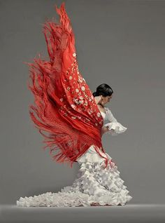 Pure art and passion! FLAMENCO from a distance it kind of looks like an angel with red wings kneeling