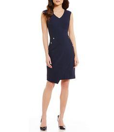Antonio Melani Hannie V-Neck Sleeveless Pique Sheath Dress