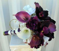 Plum Wedding bouquet real touch calla lily orchid wedding bouquet bridal bouquet. $120.00, via Etsy.