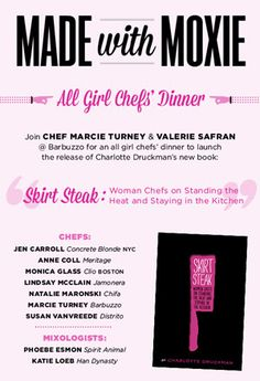 Girl Power - Barbuzzo's All-Girls Chefs' Dinner, Sunday, October 21: Break Bread With Marcie Turney, Monica Glass, Jennifer Carroll, Anne Coll, Katie Loeb And More. #SEPTA