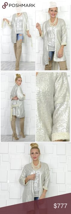 SILVER METALLIC CARDIGAN Brand new, Boutique item PRICE IS FIRM, offers are NOT accepted   Tis the Season for this amazing silver foiled metallic knitted cardigan. Silver metallic foiling over creamy beige knit. Open front with belt. You will ROCK this cardigan. Approx 3/4 sleeves. Item is as seen in pics.  Modeled in a S/M Material 100%acrylic  silver holiday christmas party trendy popular . Sweaters Cardigans
