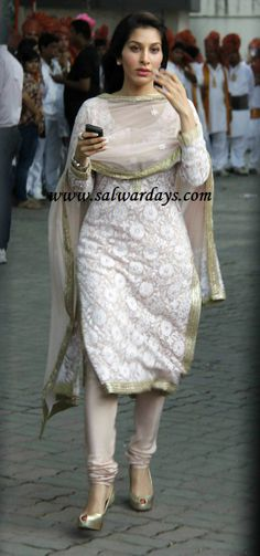 Indian Salwars and Indian Fashion: sophie choudhary in white designer brocade work salwar suitetata