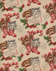 Vintage Christmas Paper Wallpaper Digital by Noel Christmas, Christmas Paper, Retro Christmas, Christmas Images, Christmas Cats, Vintage Holiday, Primitive Christmas, Country Christmas, Christmas Stockings