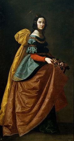 Francisco de Zurbarán, Santa Isabel de Portugal, c 1635. Zurbaran, was a major source of inspiration for Balenciaga. Look at the back volume along the saint's shoulder line. You will see similar silhouettes begin to emerge in the late 1950s and early 1960s in Balenciaga's gowns. Also the color palette from many of Zurbaran's paintings are perhaps influential in Balenciaga's own selections for color and fabrics.