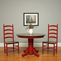 """Single Pedestal Tables  42"""" Maple Solid Top stained Original American Walnut, with Lea Red Painted Base. $915  Chairs: Washington Ladder Back"""
