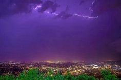 Purple lightning skies with a view of Roanoke from Mill Mountain