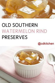with watermelon rind, sugar, lemon, allspice Jelly Recipes, Jam Recipes, Canning Recipes, Sweet Recipes, Canning Tips, Cooker Recipes, Amish Recipes, Candy Recipes, Pickled Watermelon Rind