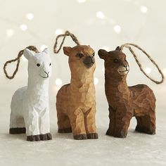 Alpaca Ornaments - Rustic Carved Wooden: Alpaca Socks, Gloves, Scarves, Clothing and Gifts... Your Alpaca Products Store since 2002!