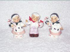 Vintage Christmas NOEL Dutch Shopper Children Boy Girl Porcelain Figurine hard to find Japan Ornament Decoration Candy Cane. $45.00, via Etsy.