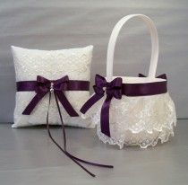 Plum Purple, Wedding Bridal, Flower Girl Basket and Ring Bearer Pillow Set on Ivory or White ~ Double Loop Bow & Hearts Charm ~ Allison Line