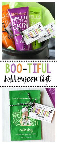 Sometimes a simple Halloween gift for a friend is the perfect way to brighten her day. Grab this simple gift tag and put it on a beauty product-fun gift! Fall Teacher Gifts, Halloween Teacher Gifts, Halloween Gift Baskets, Teacher Treats, Halloween Favors, Teacher Appreciation Gifts, Halloween Treats, Thanksgiving Teacher Gifts, Halloween Decorations