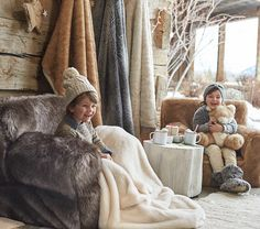 "The Gugu Guru team is obsessed with a new concept this winter, ""hygge"" – have you heard of it? Hygge, pronounced HOO-gah, is the Danish word for cozy, and as the…View Post Hygge, Winter Cabin, Winter House, Cute Outfits For Kids, Cute Kids, Fur Blanket, Thrown Pottery, Cozy Room, Faux Fur Throw"